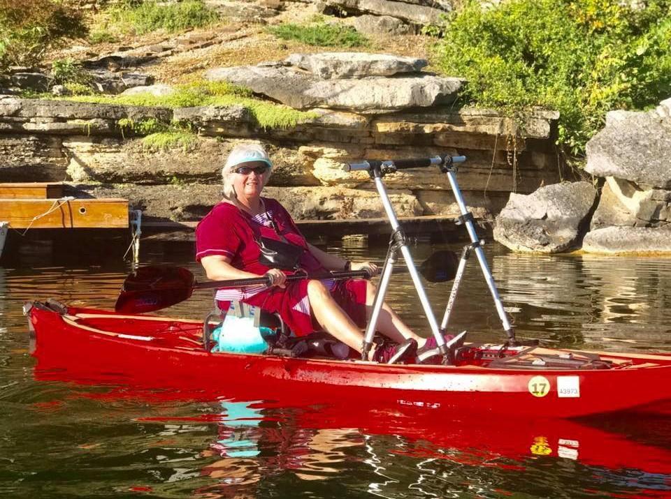 Shirley in her kayak on Lake Ann