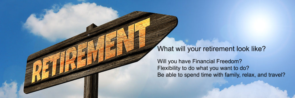 Image of retirement sign with text asking what your retirement will be like